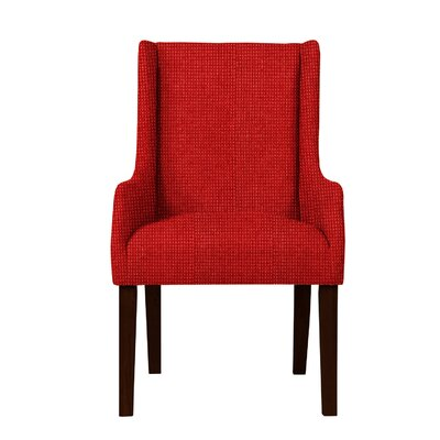 Larrabee Birch Hardwood Framed Arm Chair Upholstery: Red
