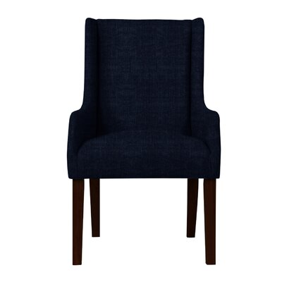 Larrabee Upholstered Solid Back Arm Chair Upholstery: Dark Blue