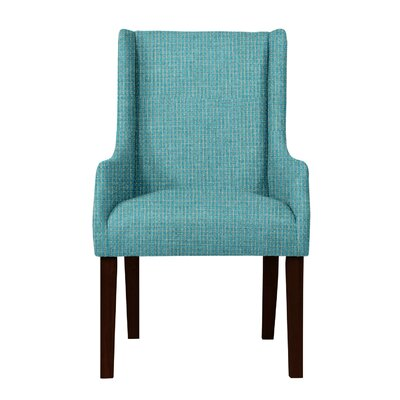 Larrabee Birch Hardwood Framed Arm Chair Upholstery: Turquoise