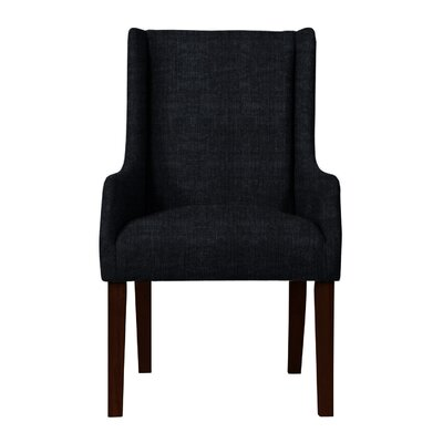 Larrabee Upholstered Solid Back Arm Chair Upholstery: Black