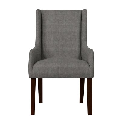 Larrabee Solid Back Formal Arm Chair Upholstery: Dark Gray