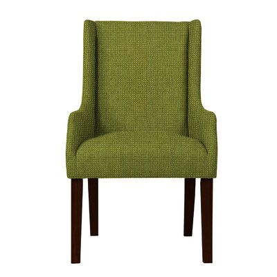 Larrabee Birch Hardwood Framed Arm Chair Upholstery: Green