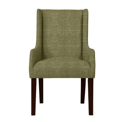 Larrabee Upholstered Solid Back Arm Chair Upholstery: Green