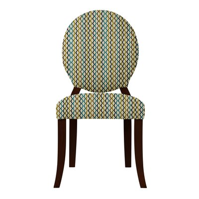 Lashley Geometric Side Chair Upholstery: Olive/Blue