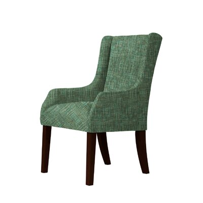 Larrabee Solid Wood Legs Wingback Chair Upholstery: Green