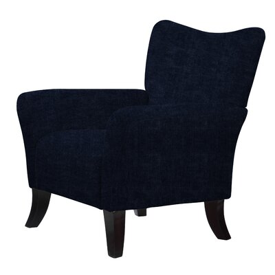 Laseter Upholstery Wood Arm Chair Upholstery: Dark Blue