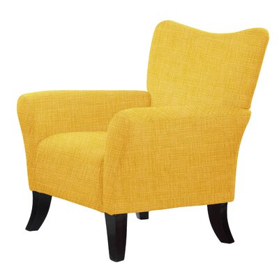 Laseter Upholstery Wood Legs Arm Chair Upholstery: Yellow