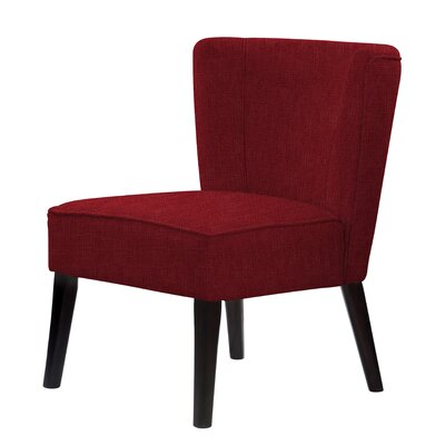 Lasalle Hardwood Frame Cotton Slipper Chair Upholstery: Dark Red
