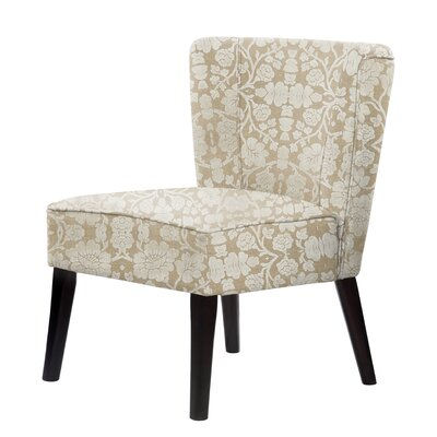 Gale Floral Fabric Slipper Chair Upholstery: Ivory