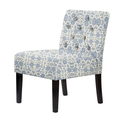 Lashbrook Floral Slipper Chair Upholstery: Blue