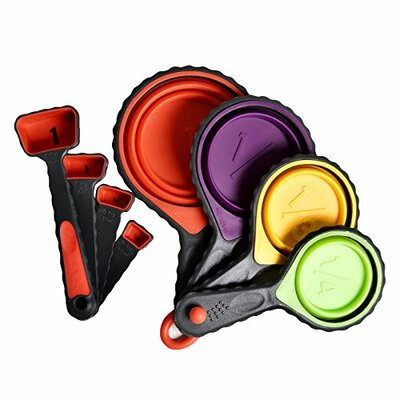 8 Piece Silicone Collapsible Measuring Cups and Spoons Set WKD100-002