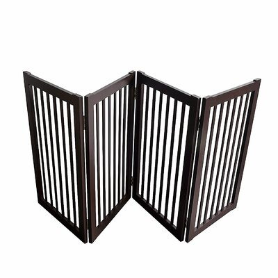 Wood Free Standing Folding Pet Gate Size: 72, Finish: Espresso