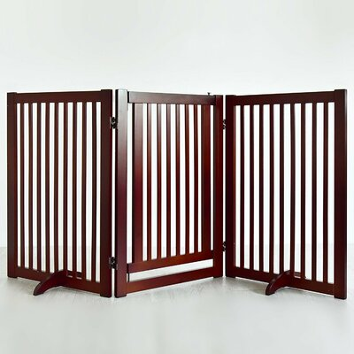 Pet Gate with Small Door Finish: Cherry