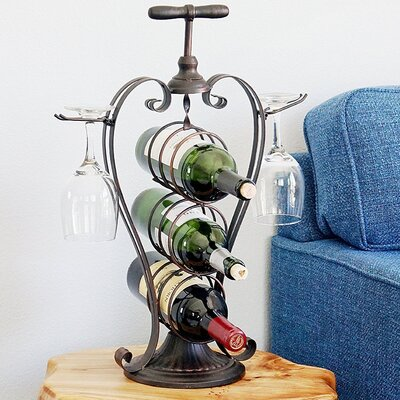Metal Heart Shaped 3 Bottle Tabletop Wine Bottle Rack