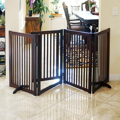 Wood Freestanding Pet Gate with Small Door Finish: Espresso