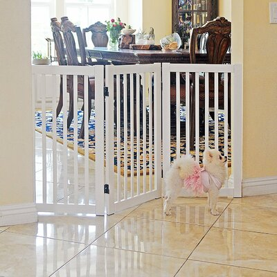 Hanscom Freestanding Wood  360? Configurable Pet Gate Finish: White