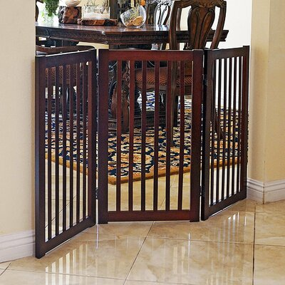 Hanscom Freestanding Wood  360? Configurable Pet Gate Finish: Cherry
