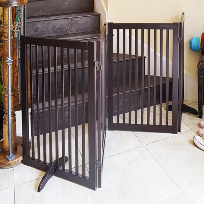 Freestanding Wood Pet Gate  Finish: Cherry