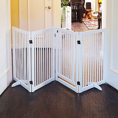 Wood Freestanding Pet Gate with Small Door Finish: White