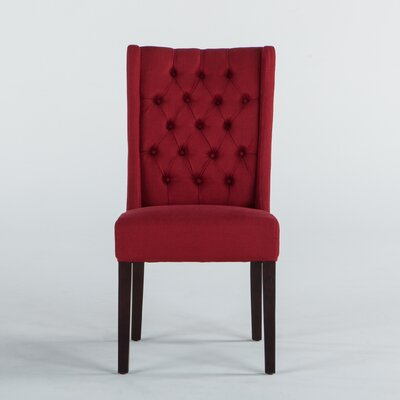 Florence Lillian Side Chair (Set of 2) Upholstery: Linen - Red