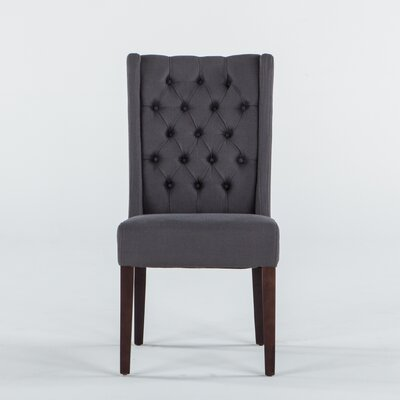 World Interiors Florence Lillian Side Chair - Upholstery: Linen - Gray (Set of 2)