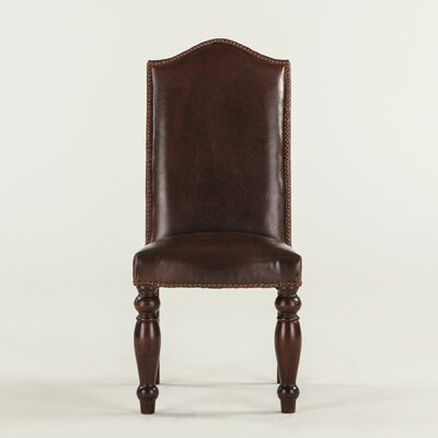 Emilia Genuine Leather Upholstered Dining Chair Upholstery: Dark Brown