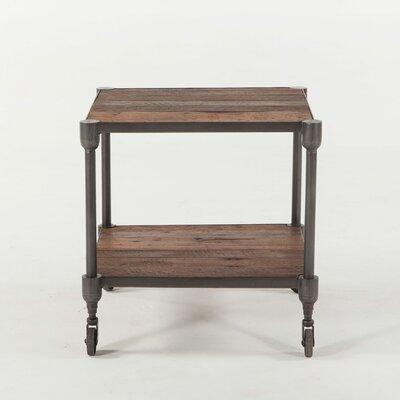 Paxton Reclaimed Teak Wheeled End Table