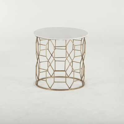 Mirabelle Hand-Forged White Marble End Table