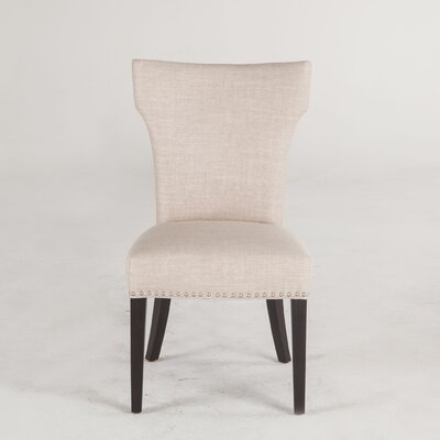 Upholstered Dining Chair (Set of 2) Upholstery Color: Beige, Leg Color: Java