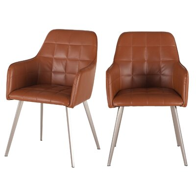 Hudson Armchair (Set of 2) Upholstery: Tan