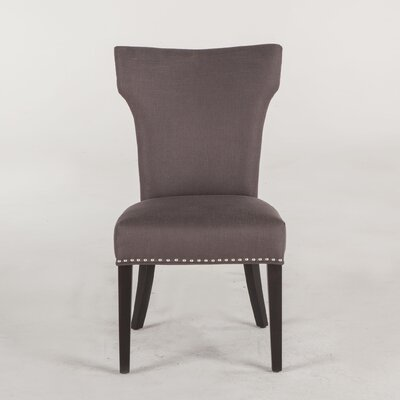 Upholstered Dining Chair (Set of 2) Upholstery Color: Charcoal Gray, Leg Color: Java
