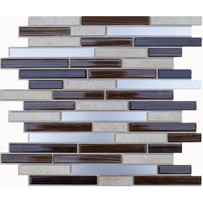 Random Sized Glass, Natural Stone, Metal Peel and Stick Mosaic Tile in Brown Glass & Silver EKB-06-101