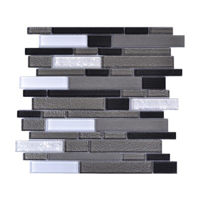 Upscale Designs Random Sized Glass and Natural Stone Mosaic Tile in White and Gray