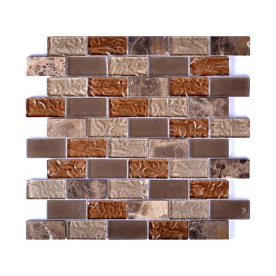 Upscale Designs Glass and Natural Stone Mosaic Tile in Taupe and Brown