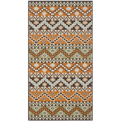 Zahr Orange/Brown Area Rug Rug Size: Rectangle 4 x 57