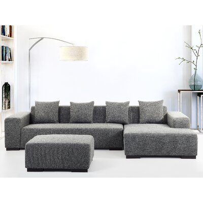 Cronin Corner Sofa Upholstery: Dark grey, Orientation: Left