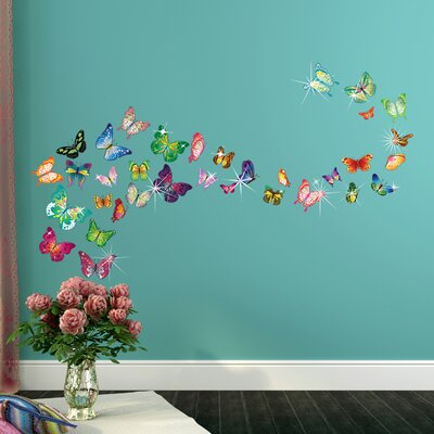 Cote-Crosskill 38 Piece Butterfly Swarovski Wall Decal Set EBDG3470 43625610