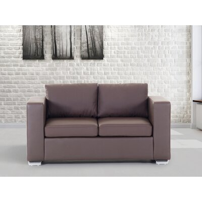 Jordon Leather Loveseat Upholstery : Brown