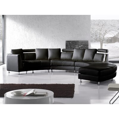 Pittenger Leather Modular Sectional Upholstery: Black