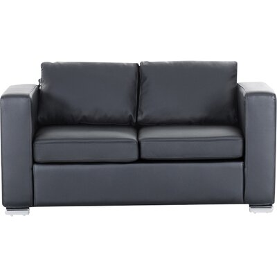 Denmark Leather 2 Seater Sofa Upholstery: Black