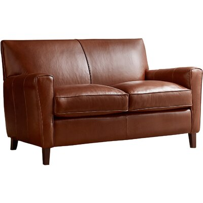 Foster Loveseat Leather: Steamboat Charcoal