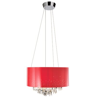 Vallo 7-Light Drum Chandelier Shade Color: Red
