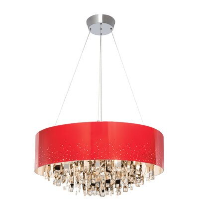 Vallo 12-Light Drum Chandelier Shade Color: Red