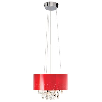 Vallo 6-Light Drum Chandelier Shade Color: Red