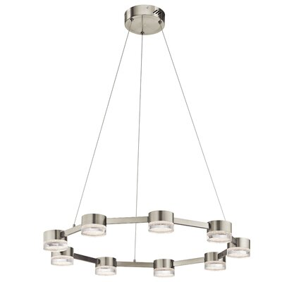 Avenza? 9-Light Geometric Pendant Finish: Brushed Nickel