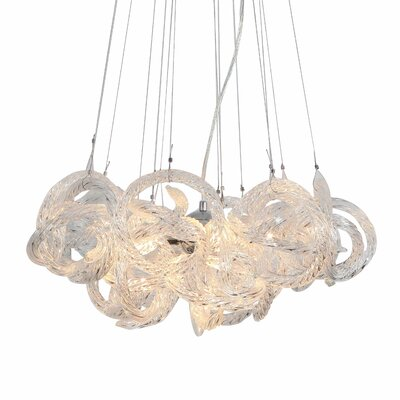 Infinity 5-Light Cluster Pendant Shade Color: Clear
