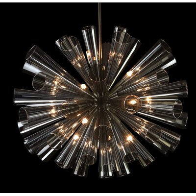 15-Light Cluster Pendant Finish: Satin Nickel