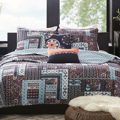 Woodblock Patchwork 5 Piece Reversible Quilt Set Size: King