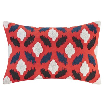 Diamond Geo Embroidery Cotton Lumbar Pillow