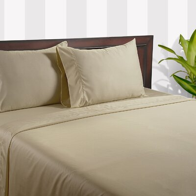Silky Touch 400 Thread Count Cotton Sheet Set Color: Light Beige, Size: Queen